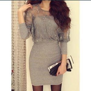 Grey Lace Sweater Dress